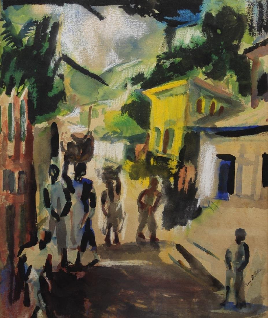 Signed, 20th C. Watercolor of Figures in a Street - 2
