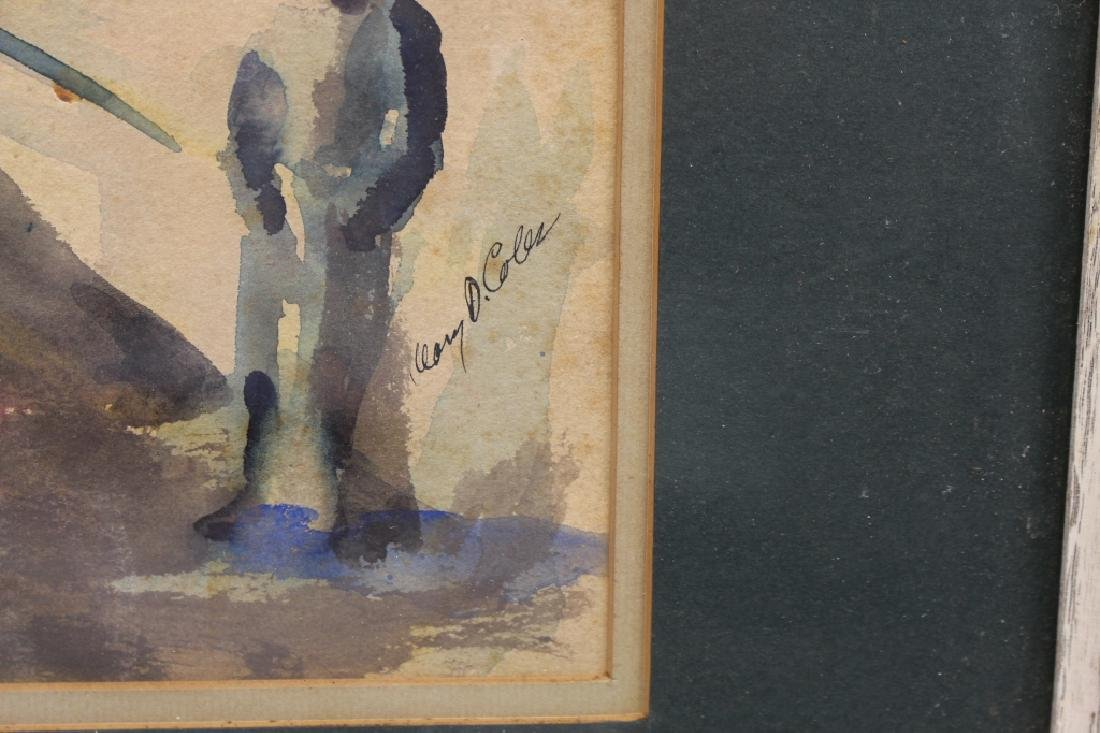 Signed, 20th C. Watercolor of Figures in a Street - 3