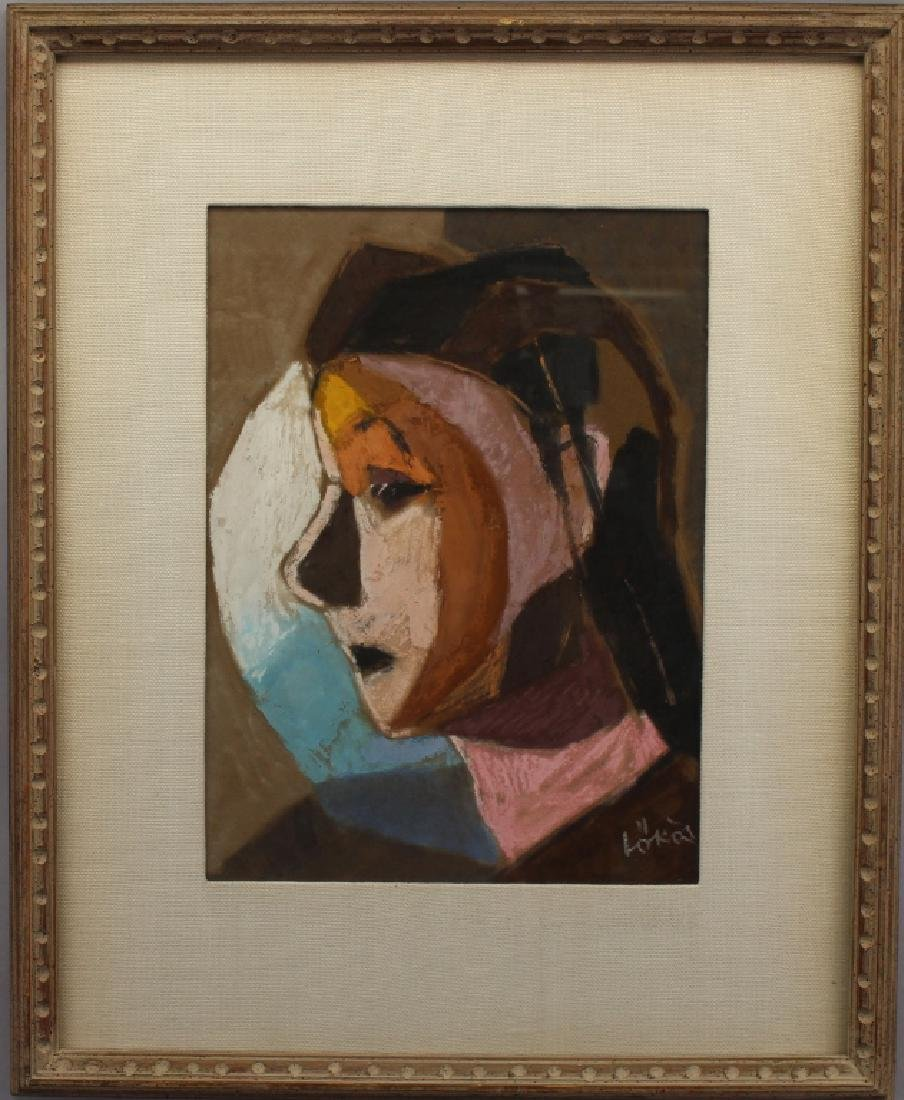 Signed, 20th C, Mixed Media Portrait of a Woman