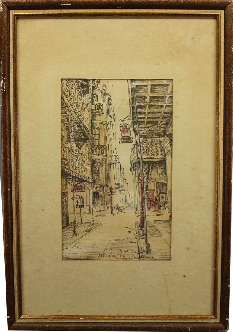 Malcolm Thompson, Colored Etching of Street Scene
