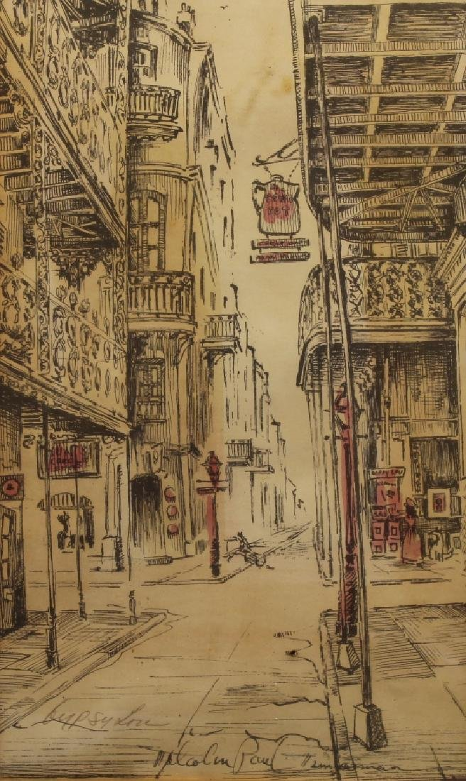 Malcolm Thompson, Colored Etching of Street Scene - 2