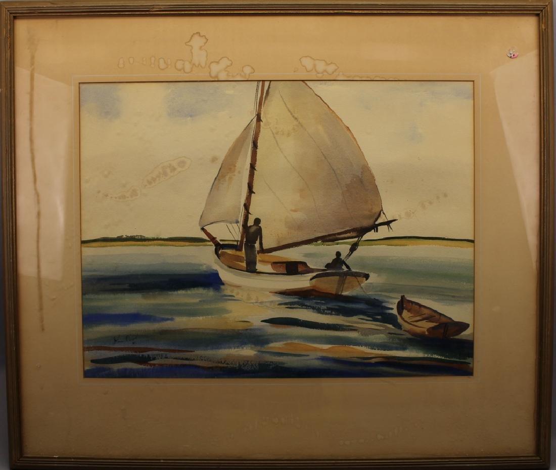 John Ward (Massachusetts, 20th C) Sailboat W/C