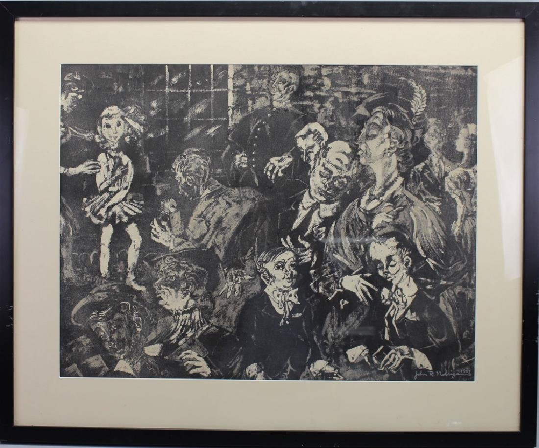 Signed 1957 Lithograph of a Crowd
