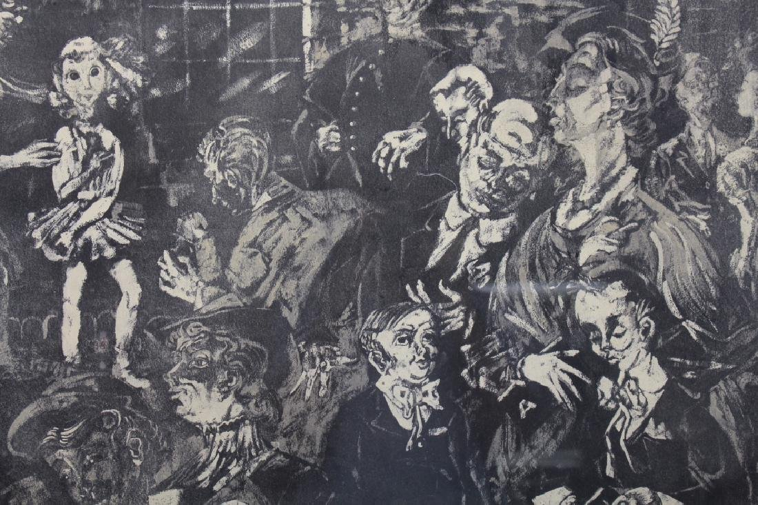 Signed 1957 Lithograph of a Crowd - 2