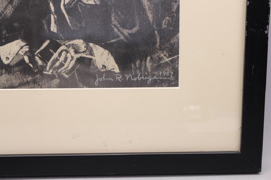 Signed 1957 Lithograph of a Crowd - 3