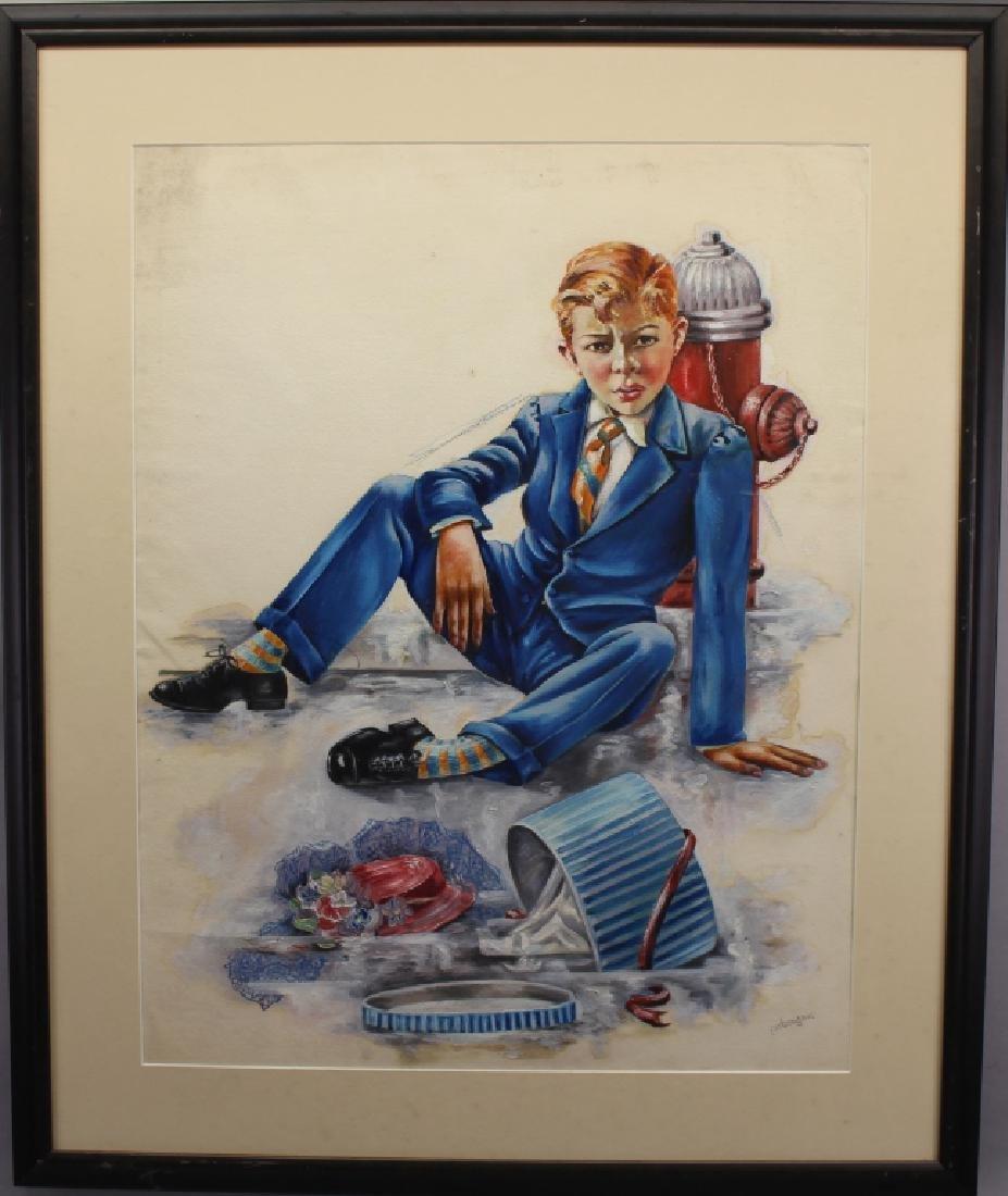 Pat Eagan,Mixed Media of Figure Near Hydrant