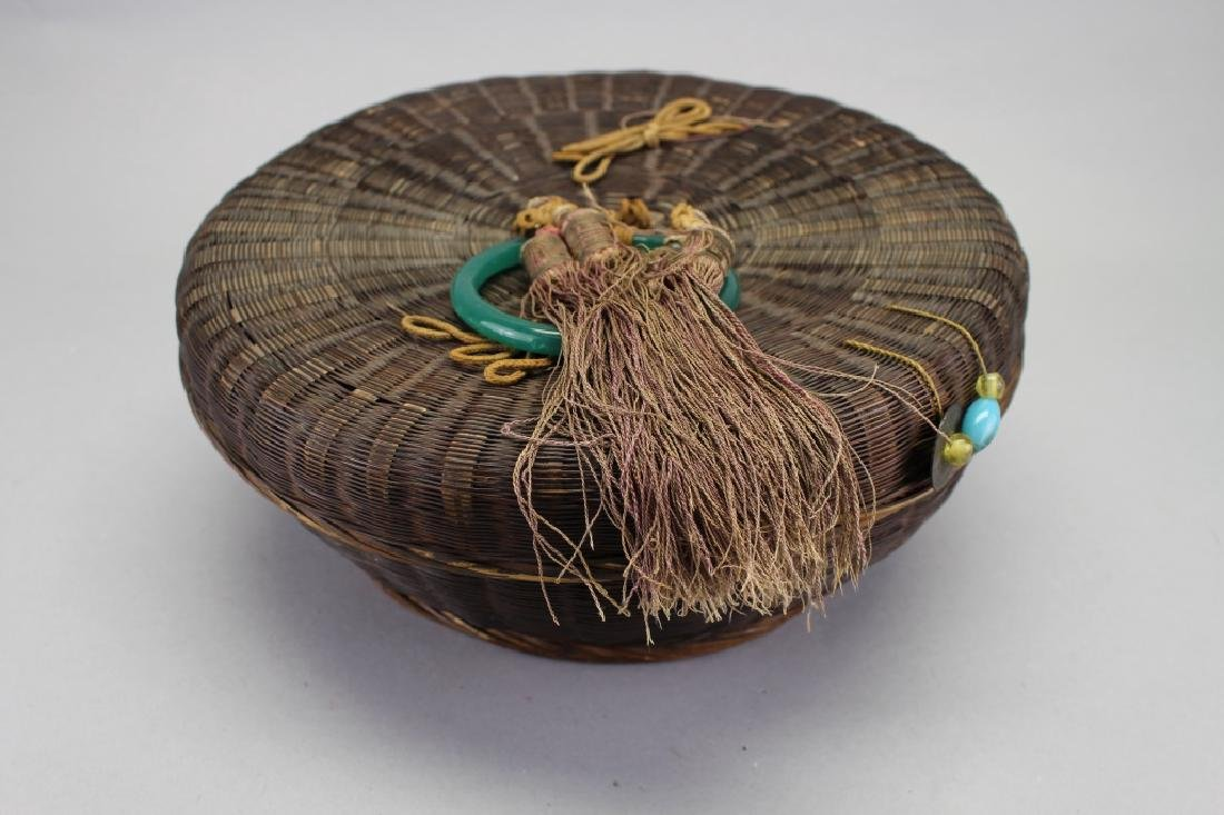 20th C. Covered Basket with Jade Handle