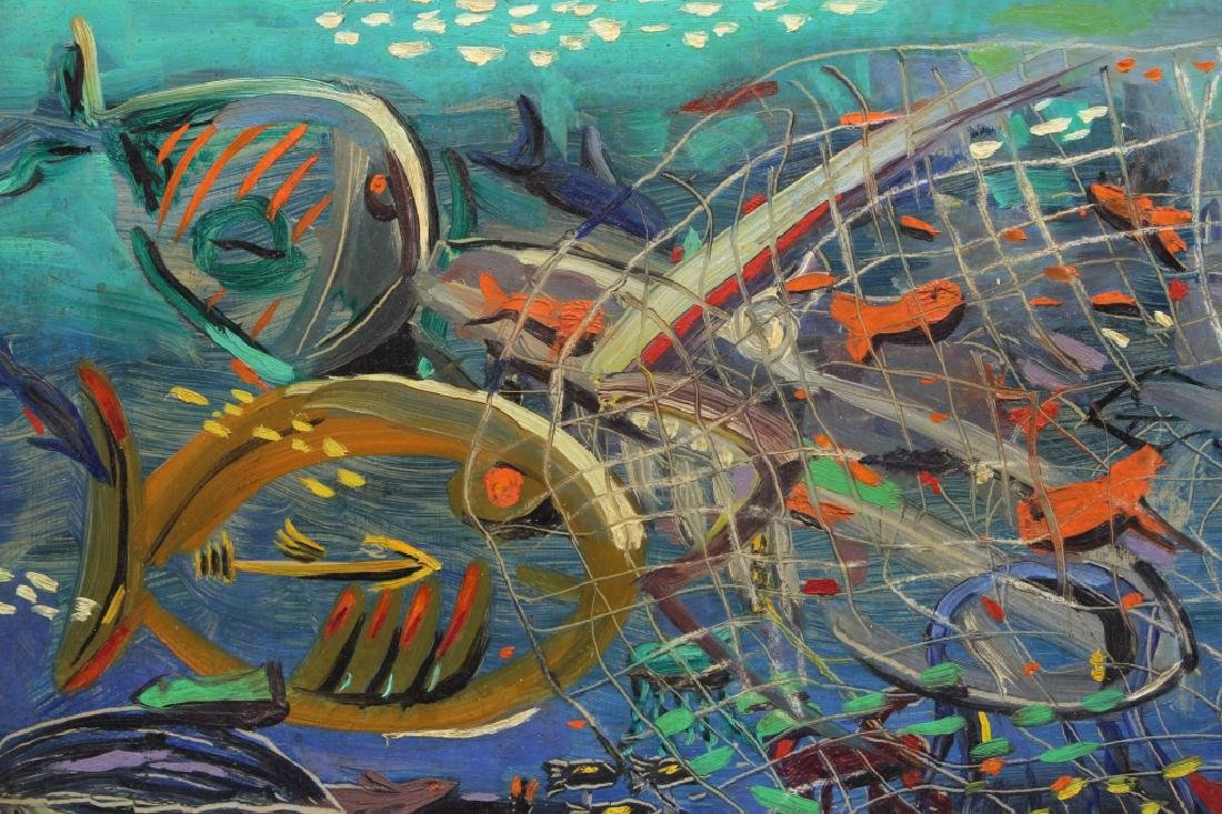 Kusik, Signed Russian painting w/ Fish, Castnet - 2