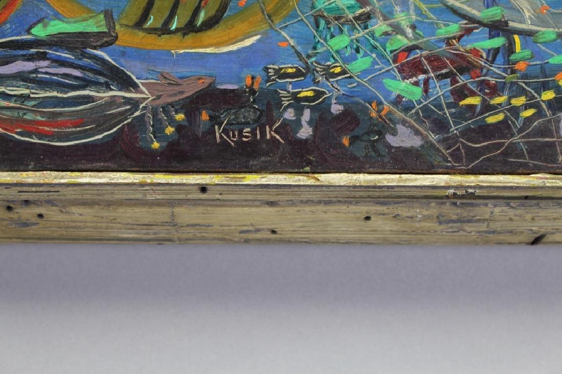 Kusik, Signed Russian painting w/ Fish, Castnet - 3
