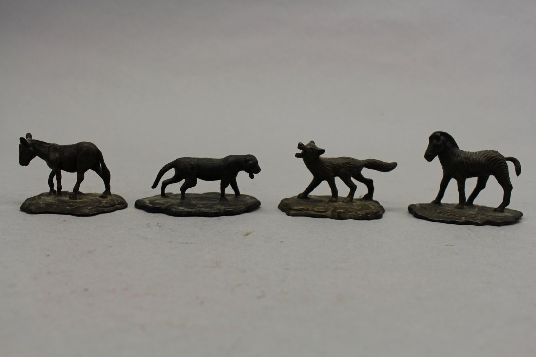 (4) Signed Tiffany Studios? Bronze Animals