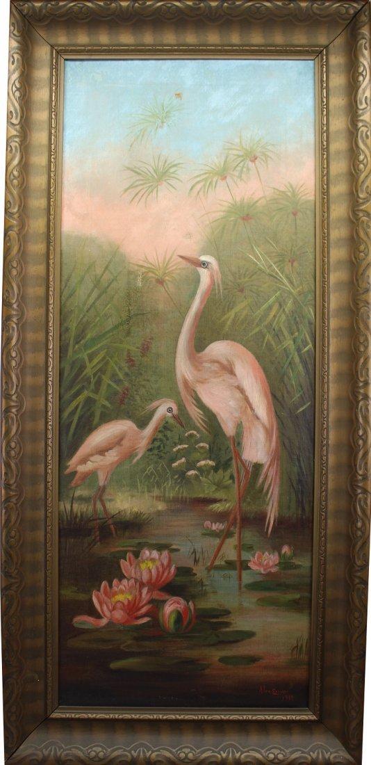 Florida School, Signed Landscape with Egrets
