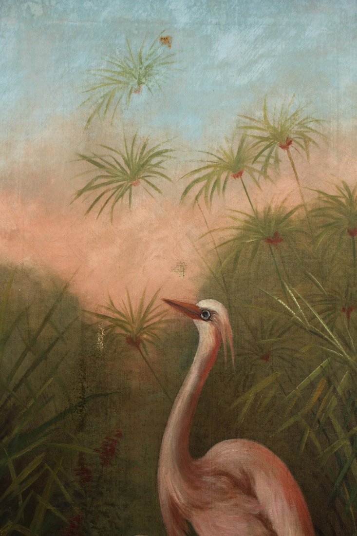 Florida School, Signed Landscape with Egrets - 2