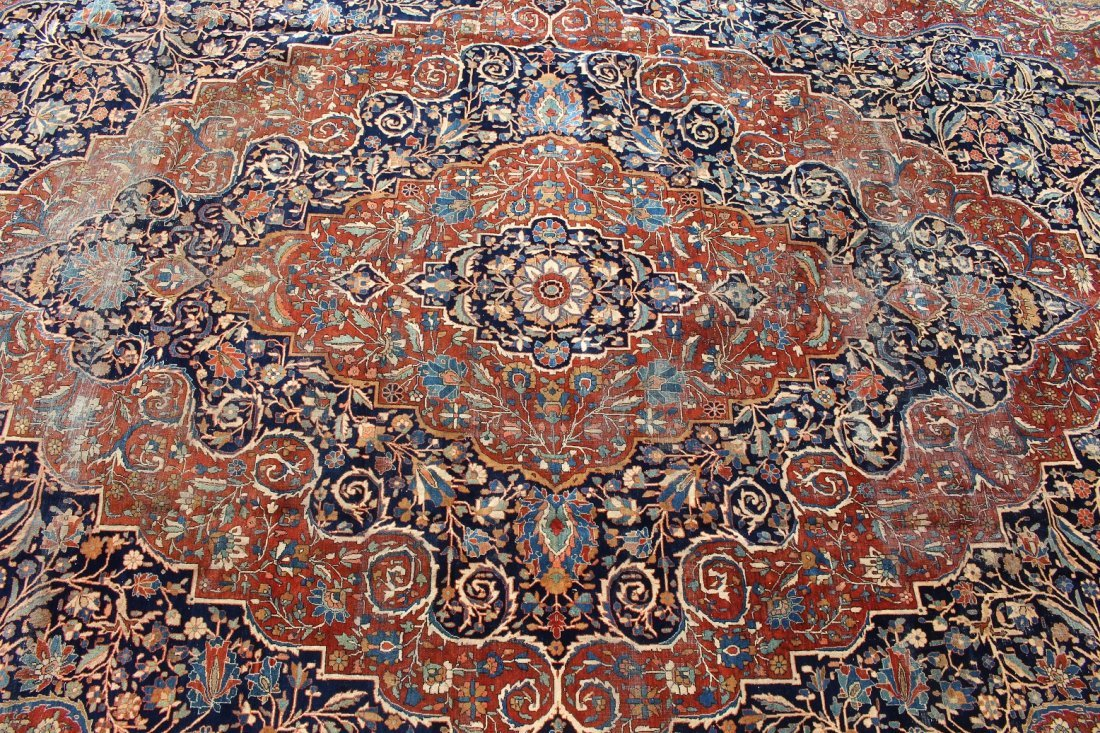 Exceptional Palace Sized Antique Kashan Rug - 2