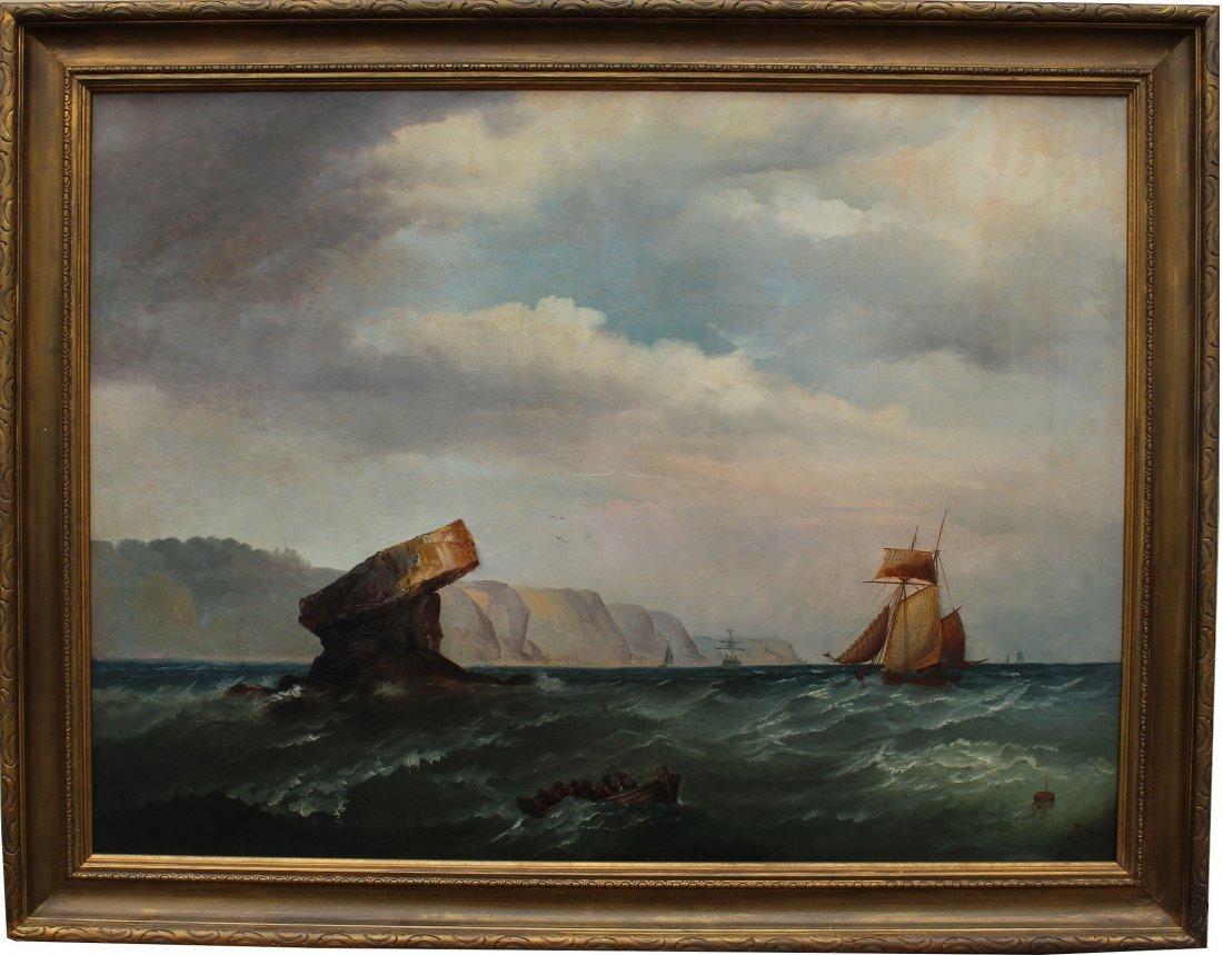 Signed, 1874 English School Marine Scene w Figures