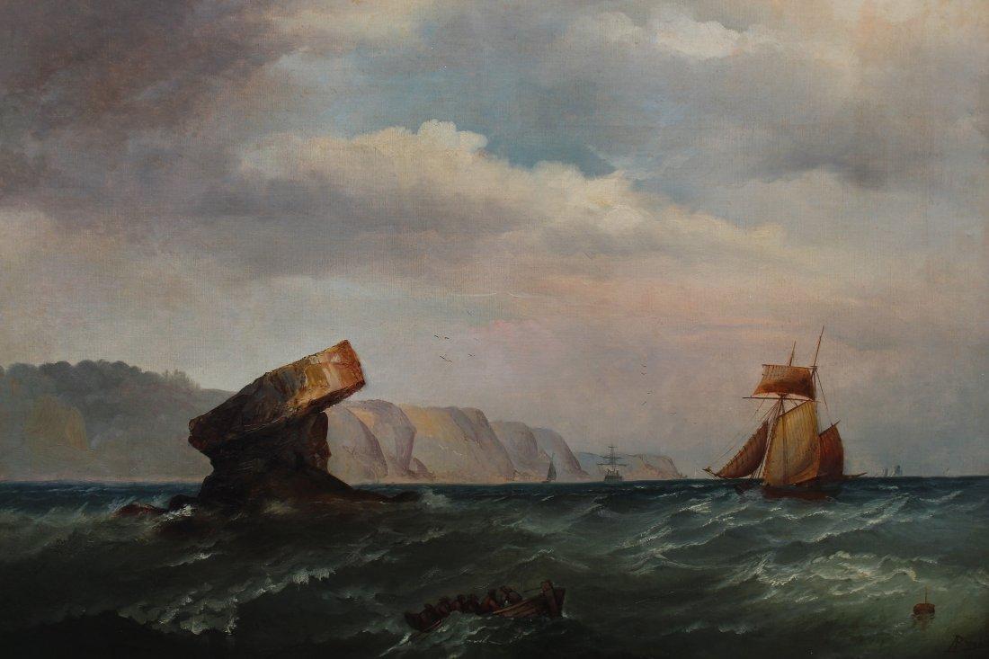 Signed, 1874 English School Marine Scene w Figures - 2