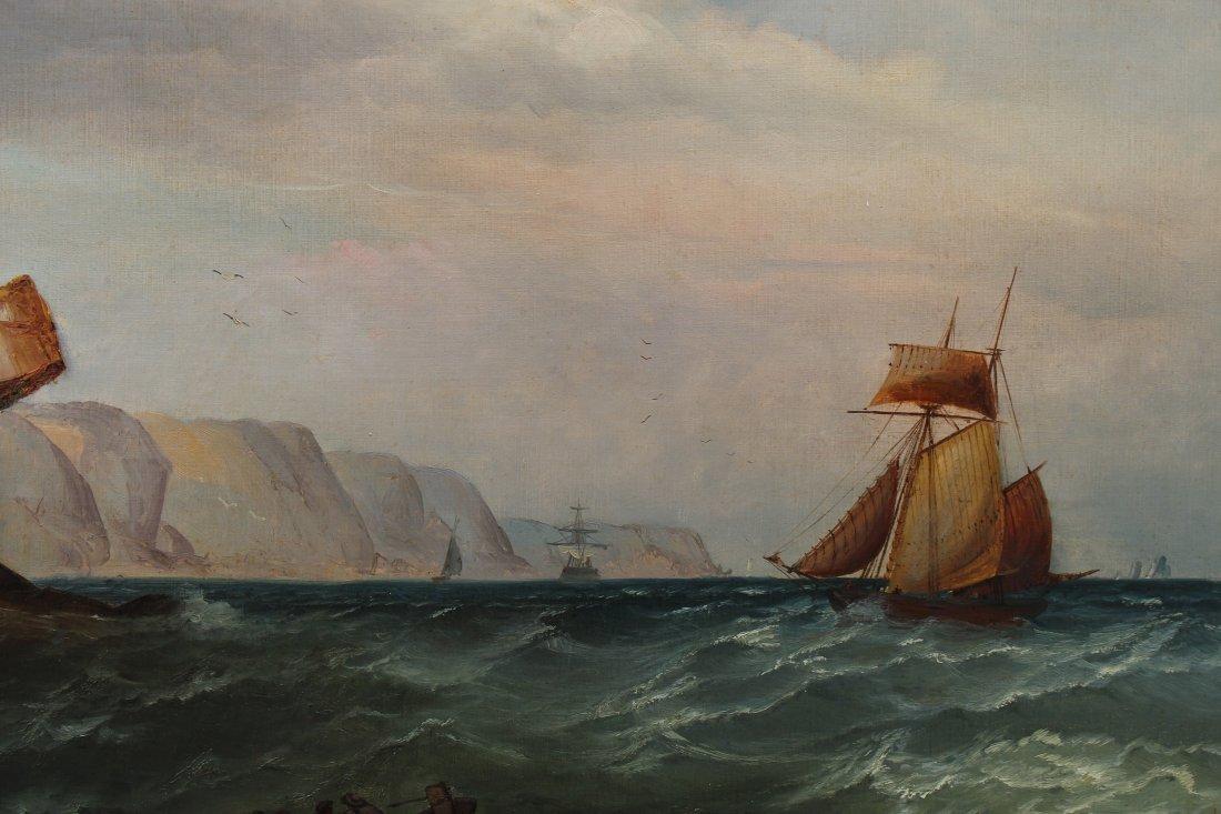 Signed, 1874 English School Marine Scene w Figures - 3
