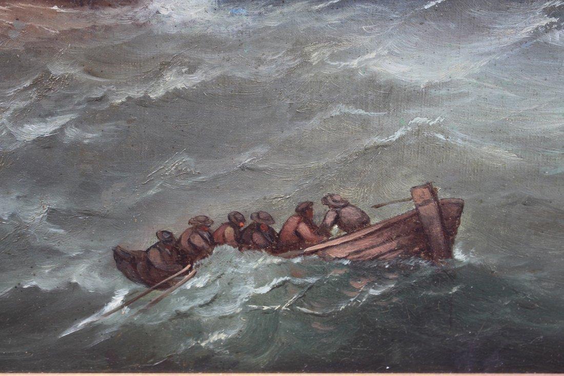 Signed, 1874 English School Marine Scene w Figures - 4