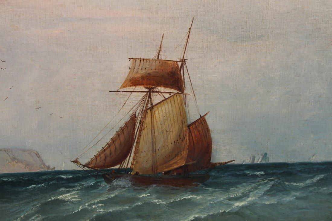 Signed, 1874 English School Marine Scene w Figures - 5