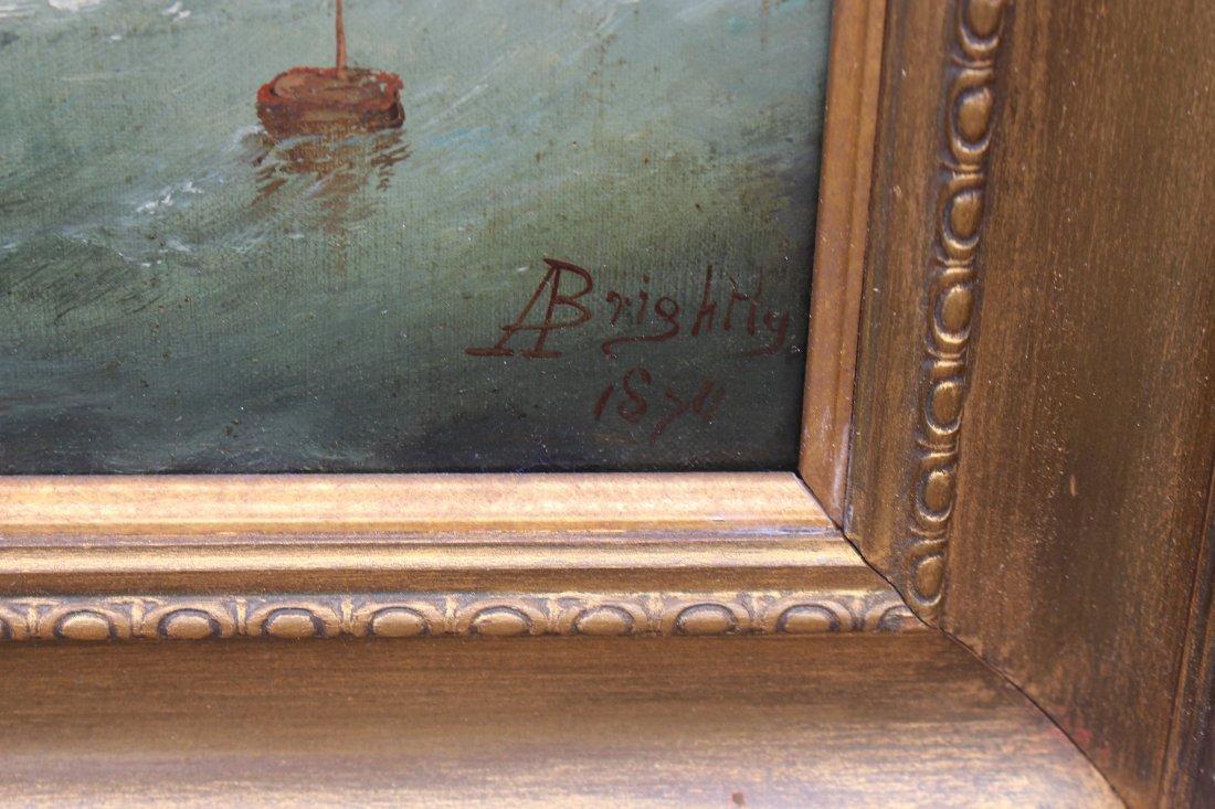 Signed, 1874 English School Marine Scene w Figures - 6