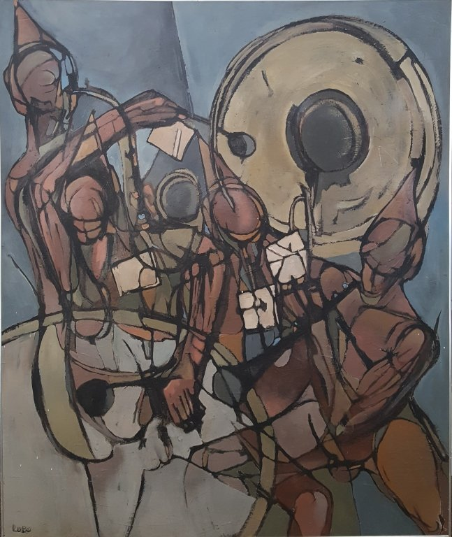 Large 20th C. Figural Abstract Oil/Canvas, Signed