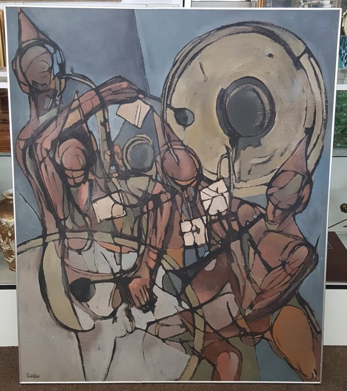 Large 20th C. Figural Abstract Oil/Canvas, Signed - 2