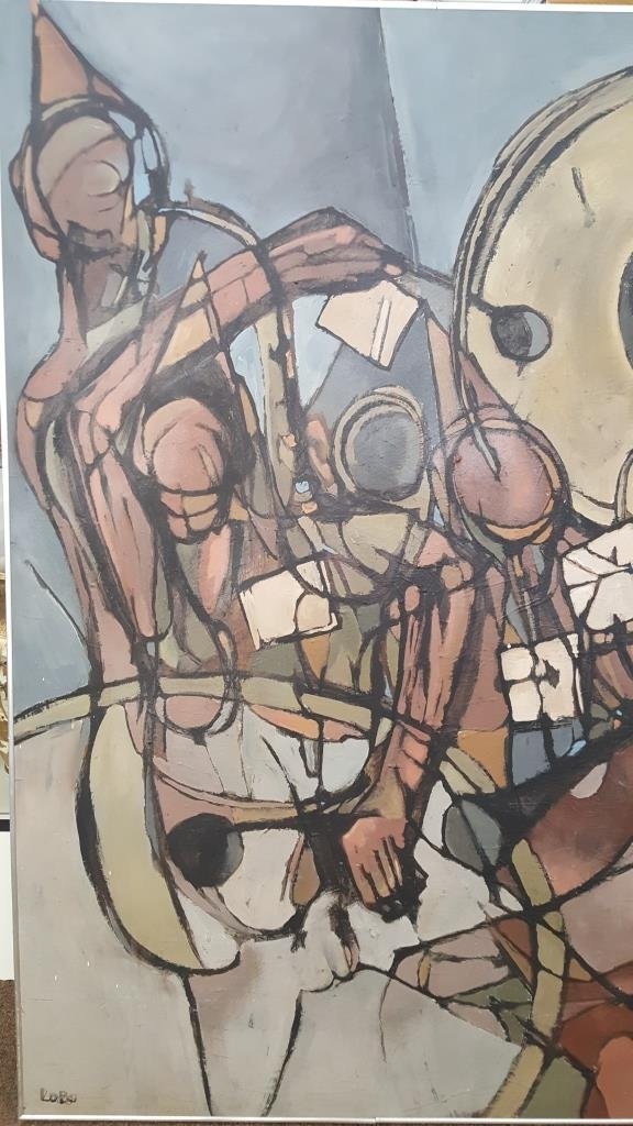 Large 20th C. Figural Abstract Oil/Canvas, Signed - 3