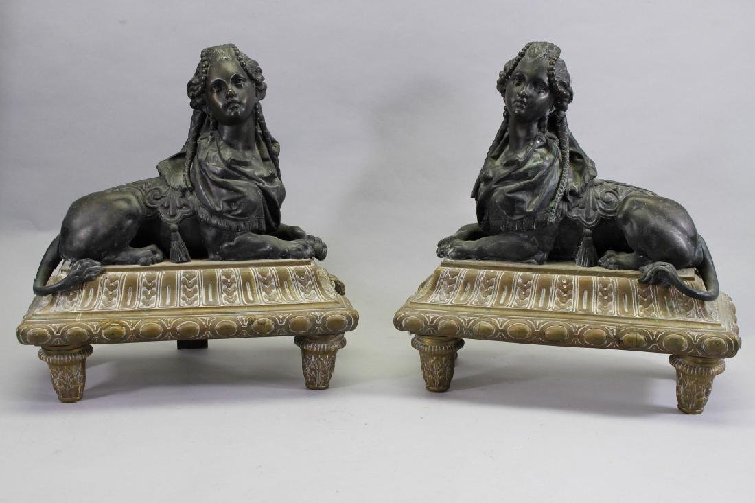 Antique French Bronze Sphinx Form Chenet