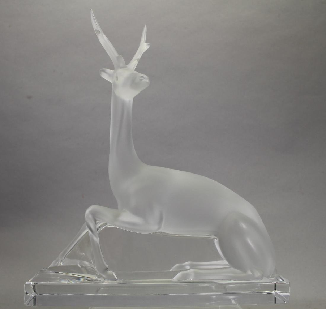 Lalique Crystal Figure of a Reclining Deer