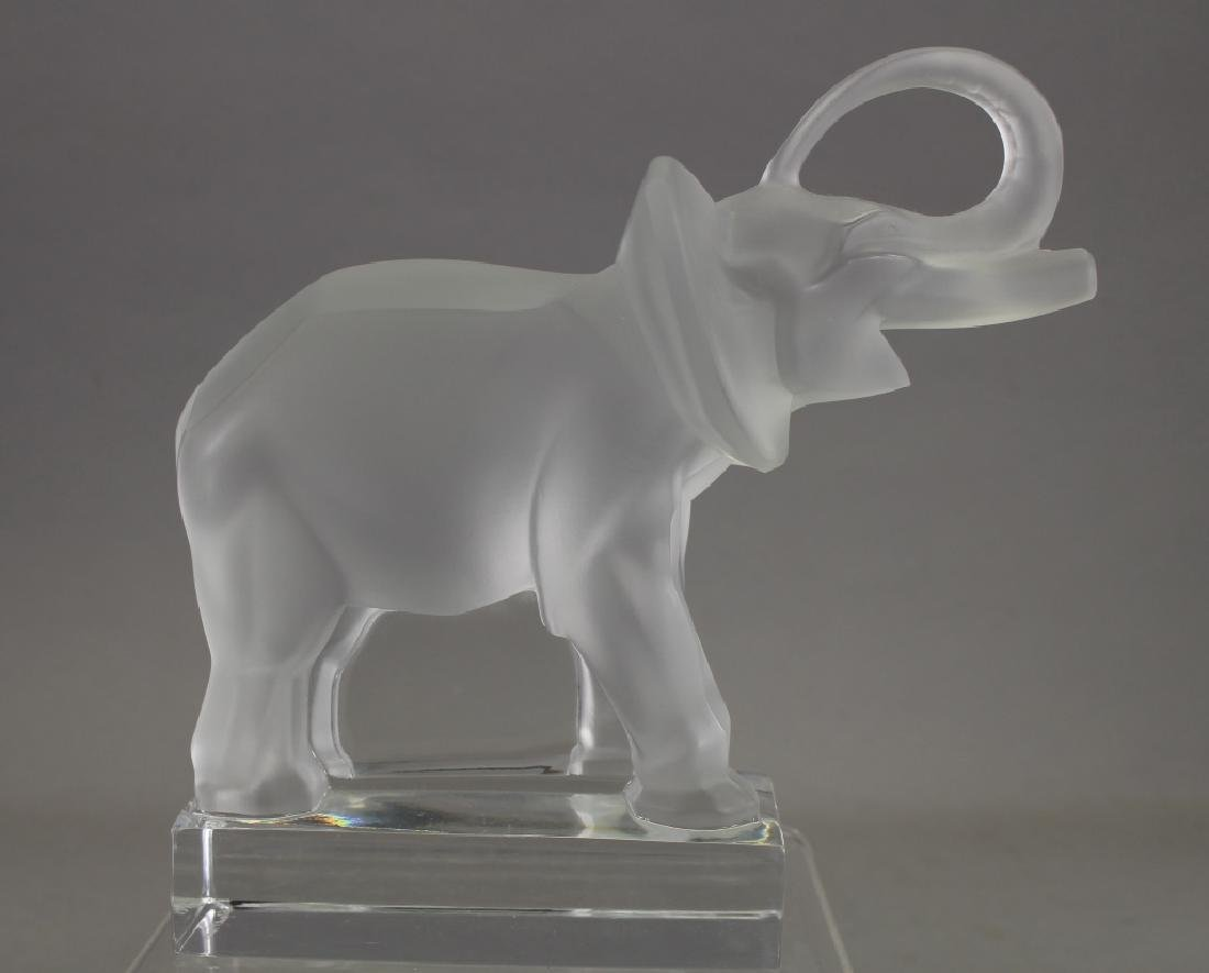 Lalique Frosted Crystal Elephant Bookend