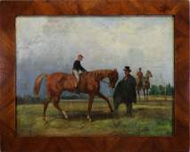 Signed 19th C Equestrian Painting