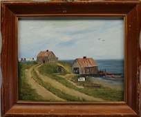 B Moore Signed 20th C Coastal Painting