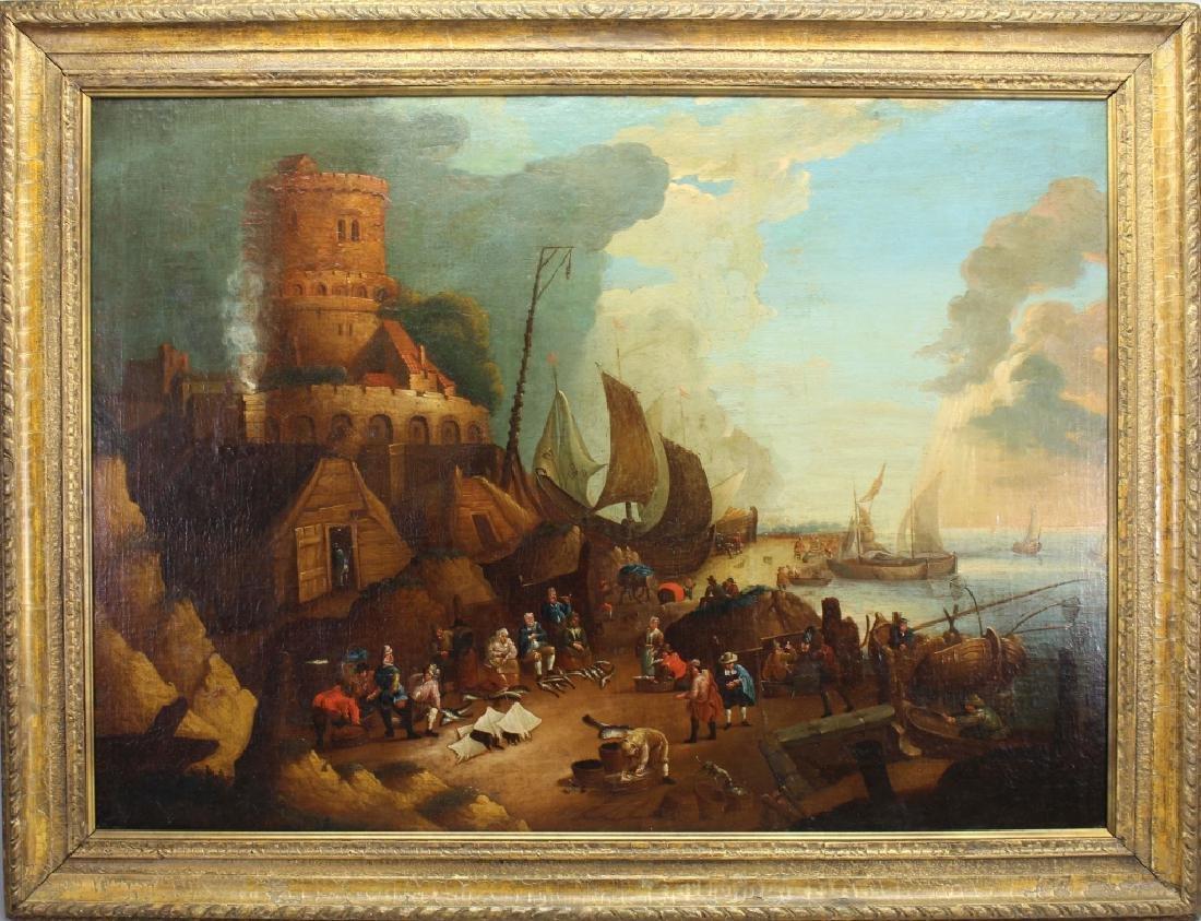 Large Old Master Harbor Scene w/ Figures, 17th C.