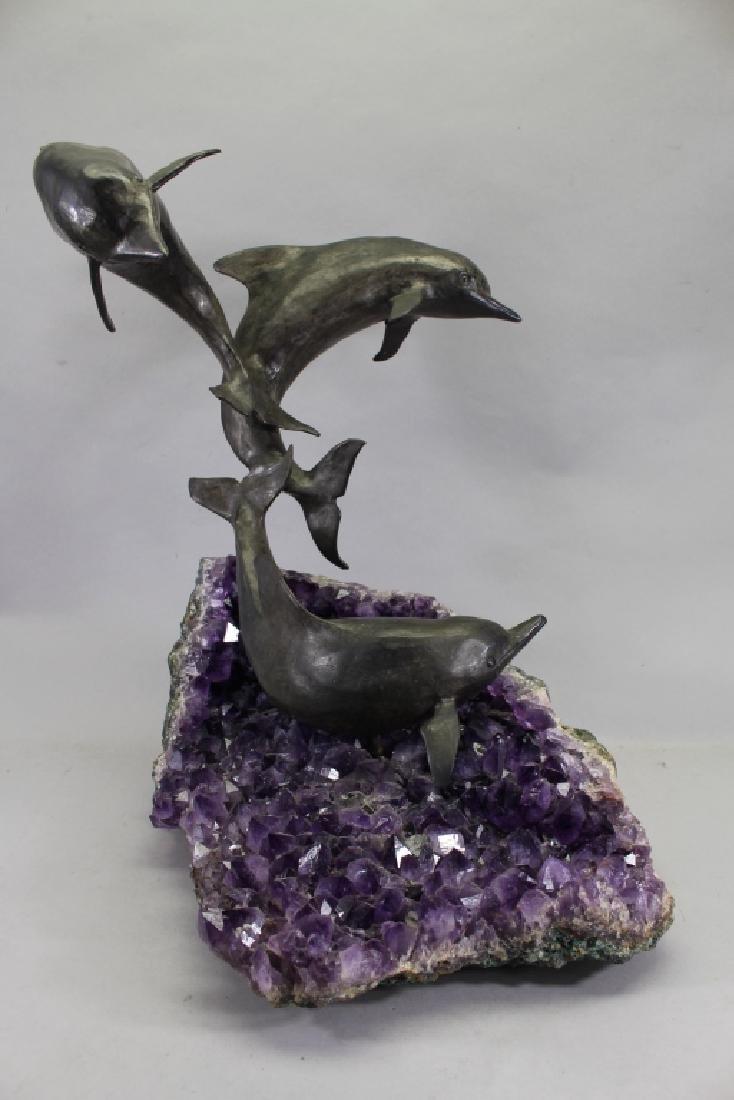 Robert Winship, Bronze Dolphins on Amethyst Geode