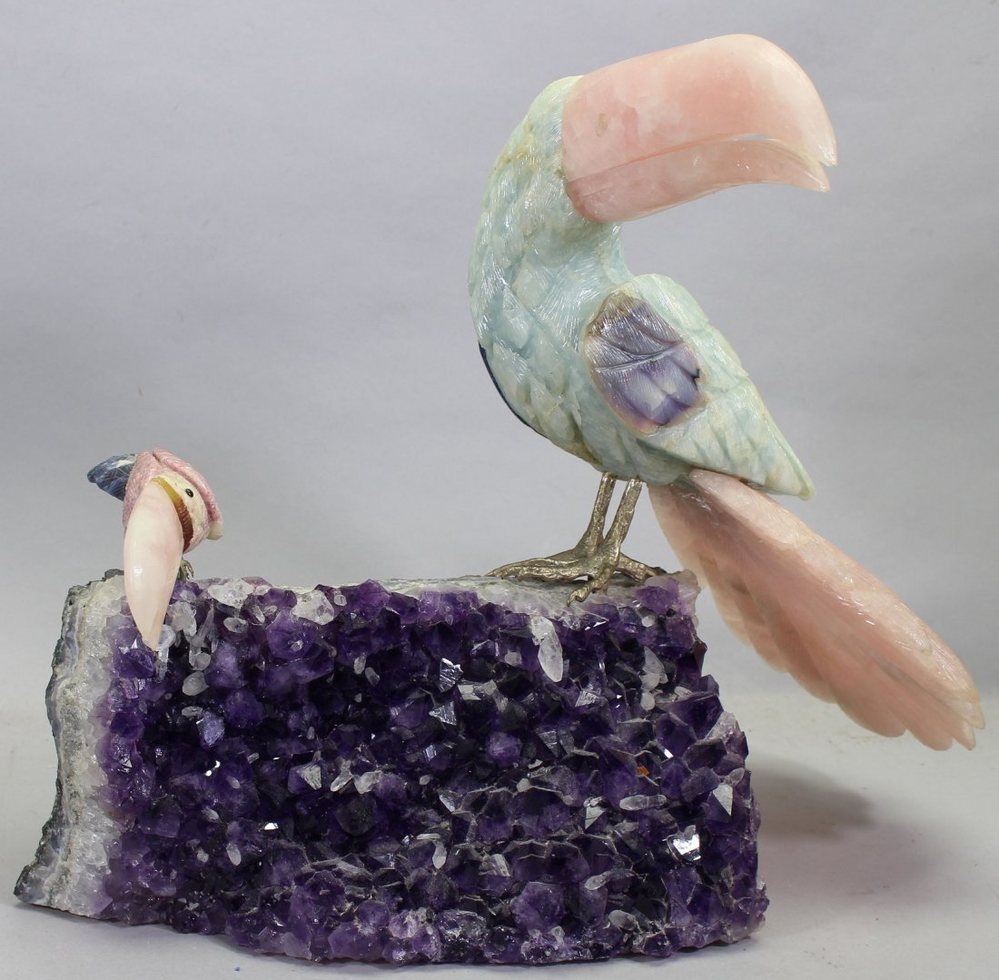 Carved Stone Toucans on Amethyst Geode