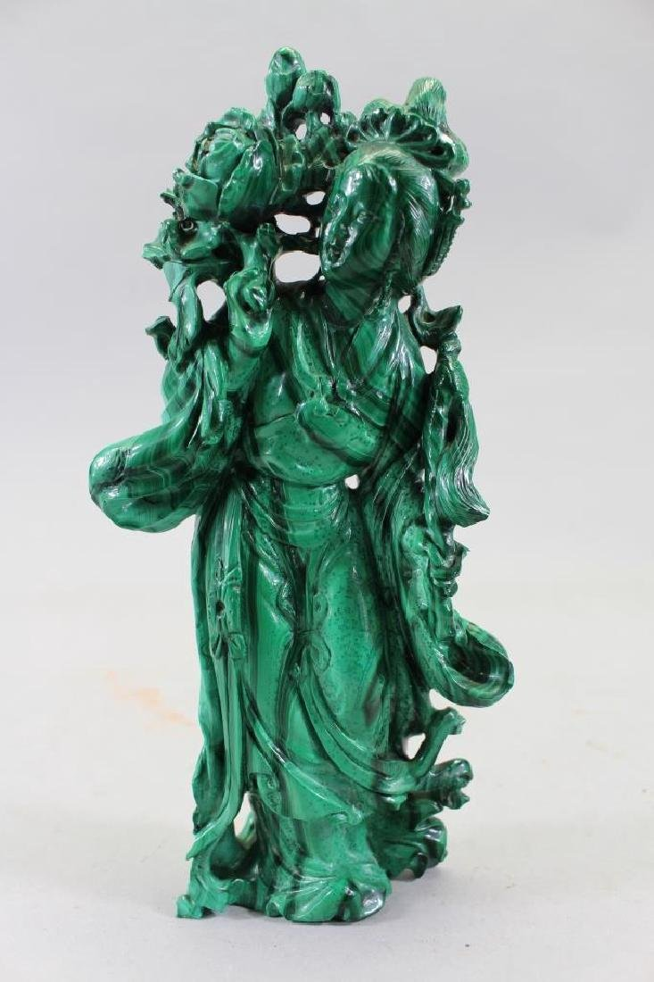 Carved Chinese Malachite Figural Carving