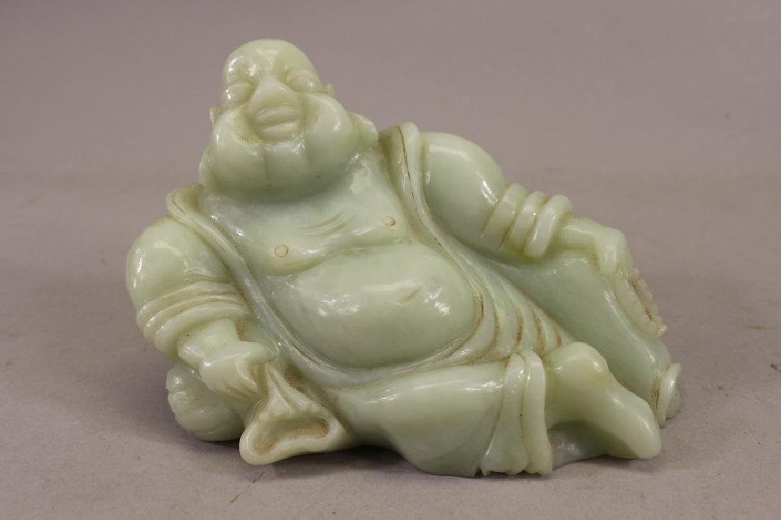 Carved Chinese Jade Reclining Buddha