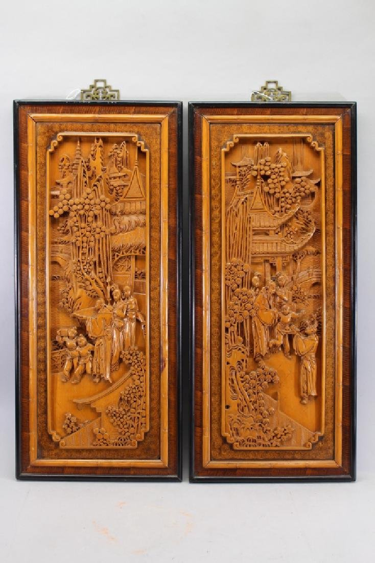 (2) Finely Carved Chinese Figural Wall Panels