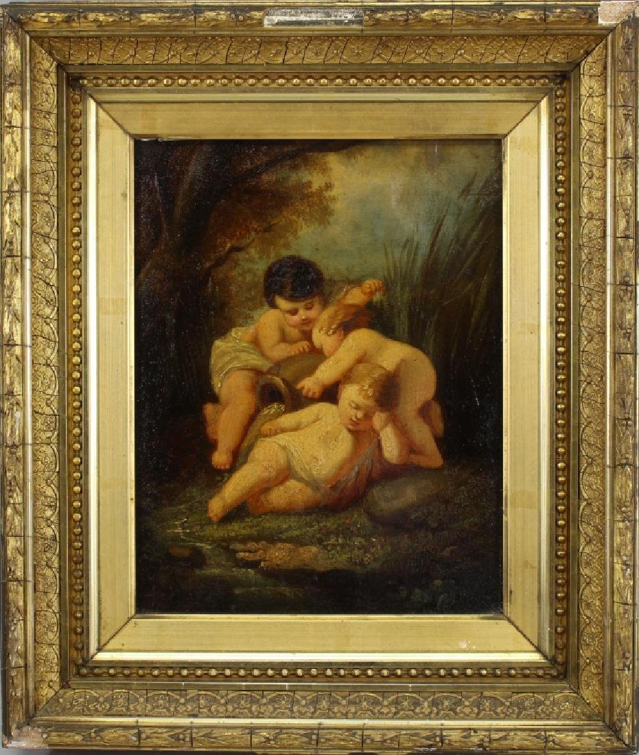 19th C. Painting of Infants in a Landscape