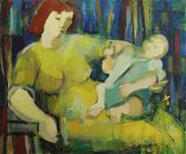 20th C Mother  Child OilCanvas