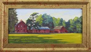 Signed 20th C OilCanvas Painting of a Farm