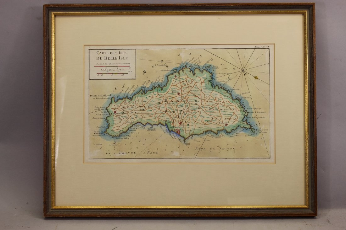 "Antique Map, ""Carte de l'Isle de Belle-Isle"""