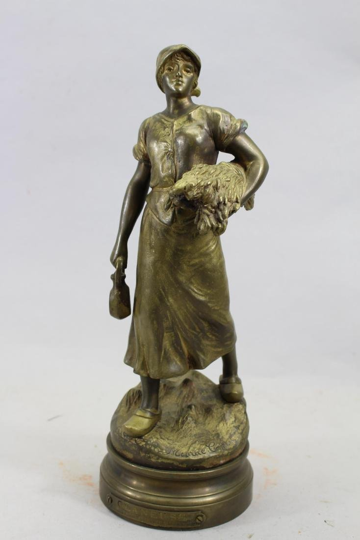 """""""The Young Harvester"""" Bronze Sculpture, Signed"""