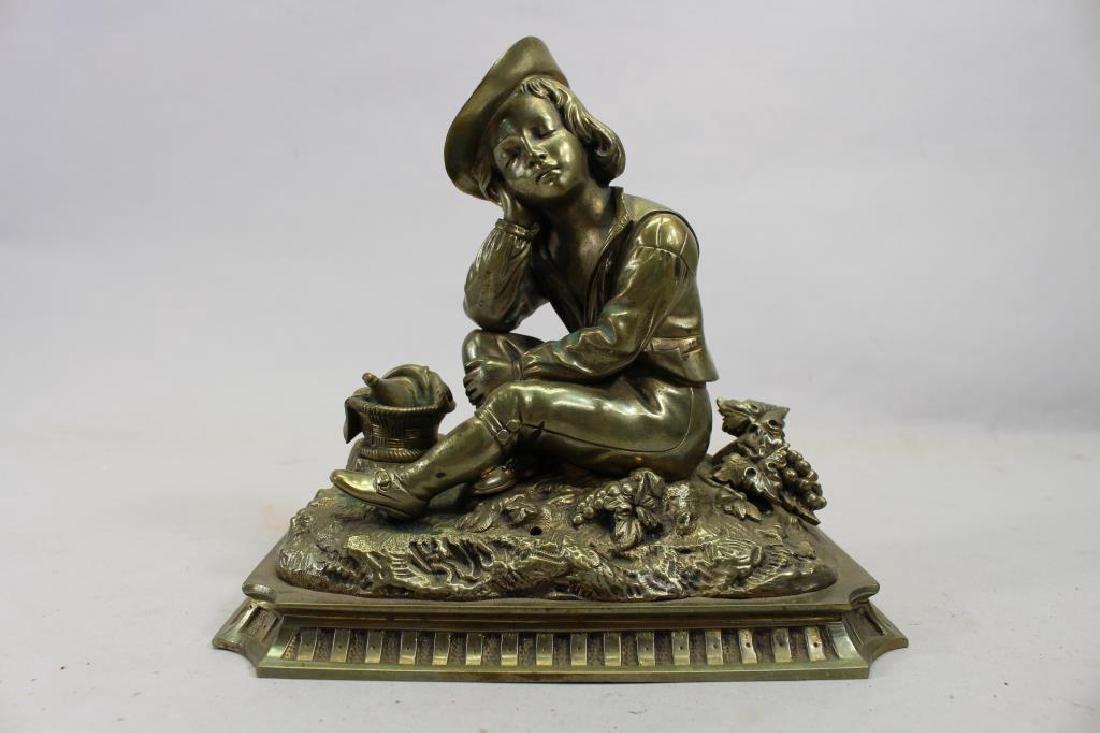 Antique Bronze Seated Boy Figure