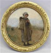 French School, Painting of Young Girl in Field