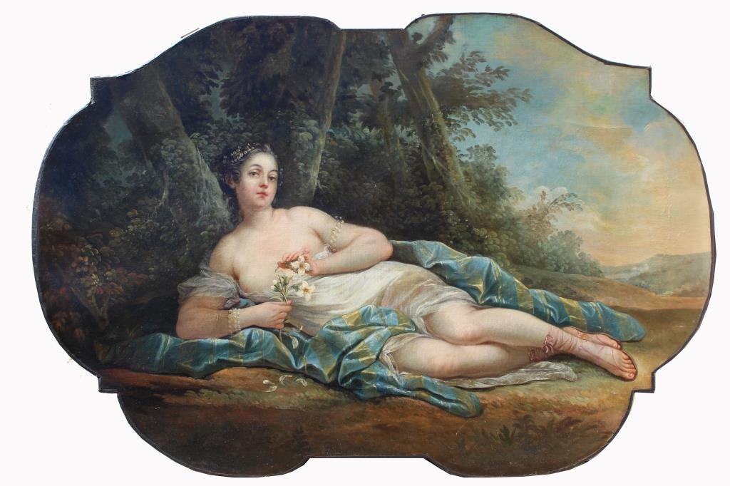 French School, Large 19th C. Reclining Nude