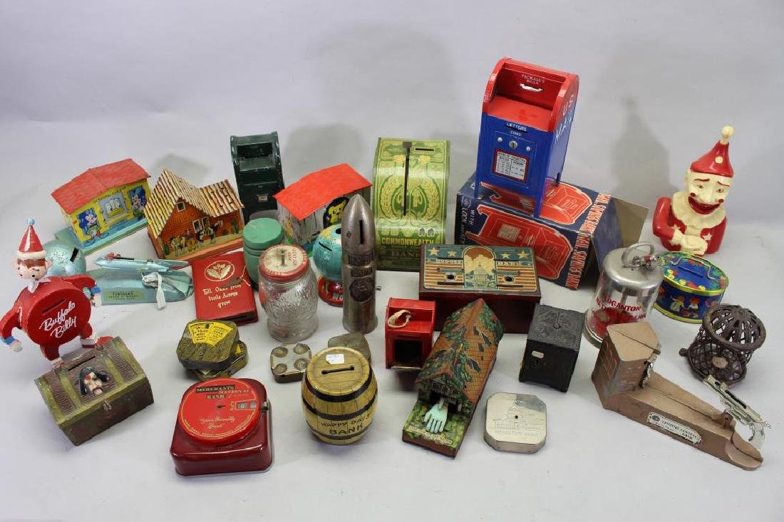 Large Assorted Group of Antique Banks (28)
