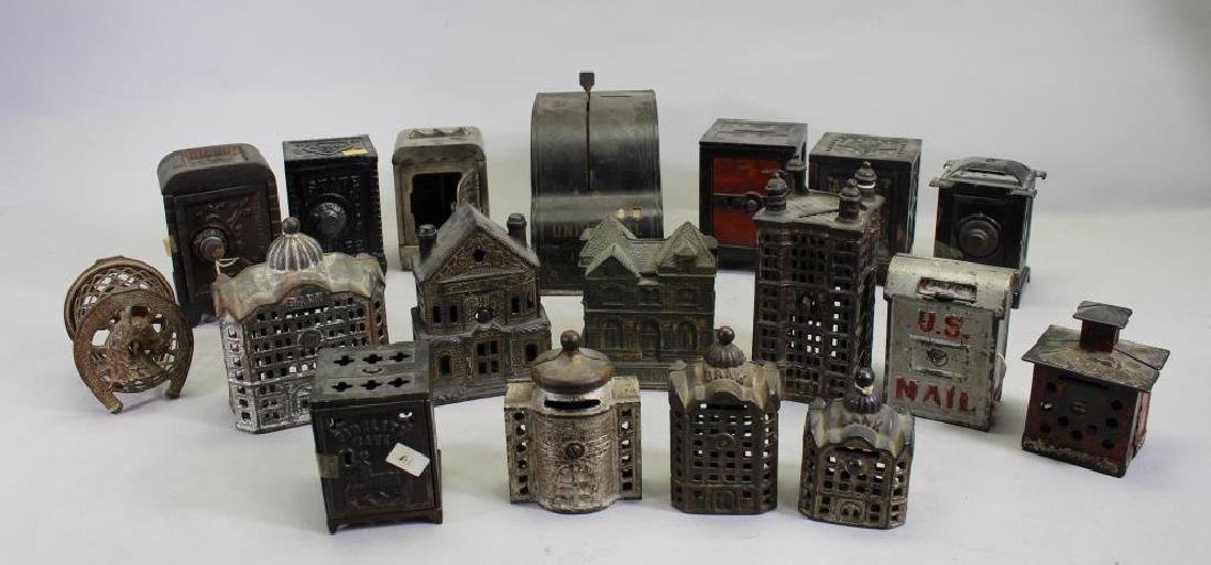 Assorted Group of Antique Metal Banks (18)