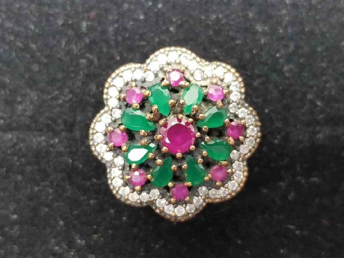 Turkish Sterling Semi-Precious Stone Ring - 4