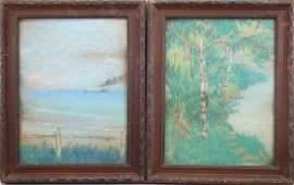 (2) Carl Baumbach Coastal Scenes, Pastel