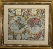 Hand Colored World Map Framed